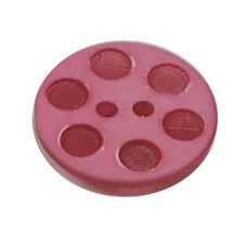 Acrylic Button 2 Hole Indented Circle 12mm Raspberry