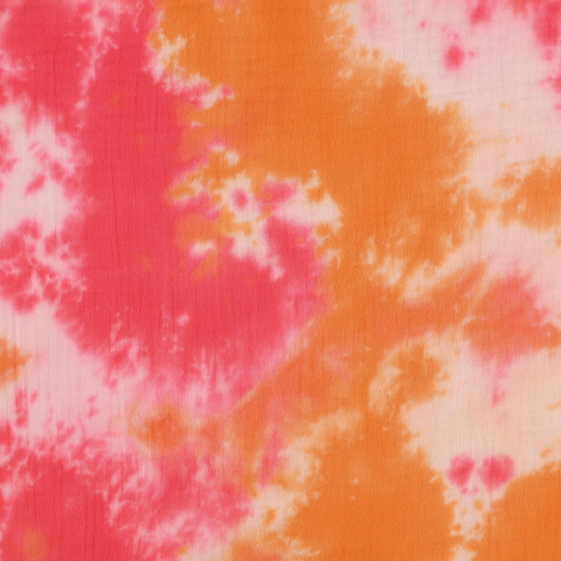 Pink / Red / Orange Multi Tie Dye Double Gauze from Sibu by Modelo Fabrics