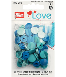 Prym Assorted Blues Non-sew Colour Snaps - 12.4mm 30 Pieces