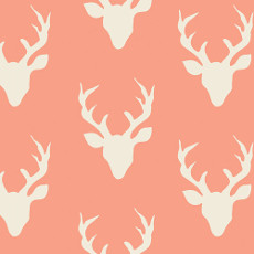 Hello Bear Buck Forest Coral Knit - Art Gallery Fabric 58in/60in Per Metre