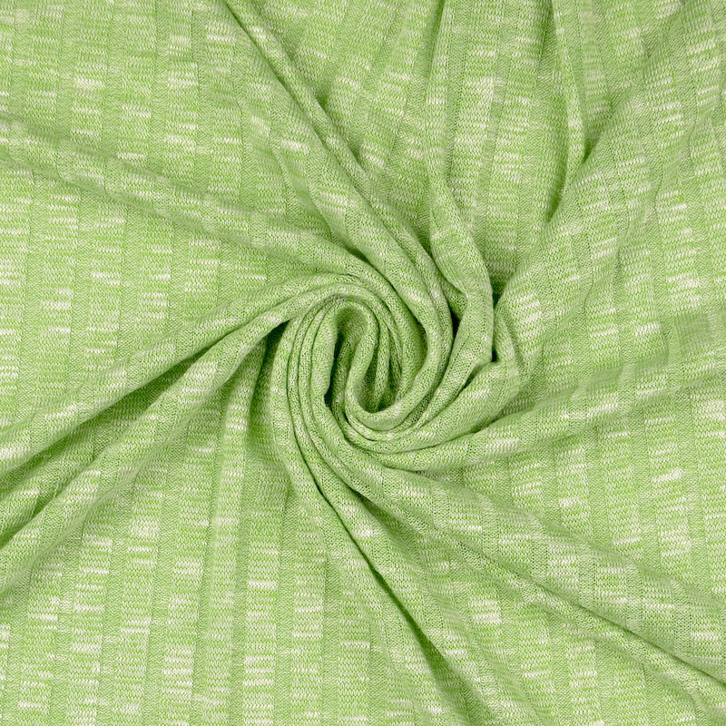 Sete Green Melange Summer Rib Knit Fabric