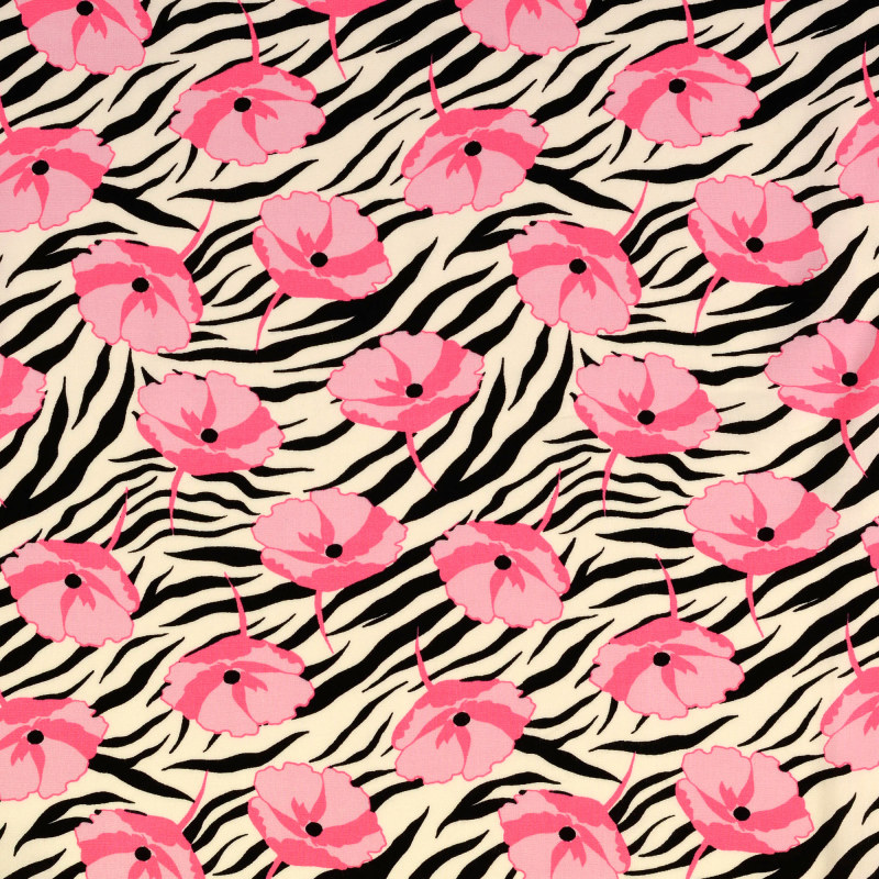 Black and Pink Zebra Rayon Print From Mistral