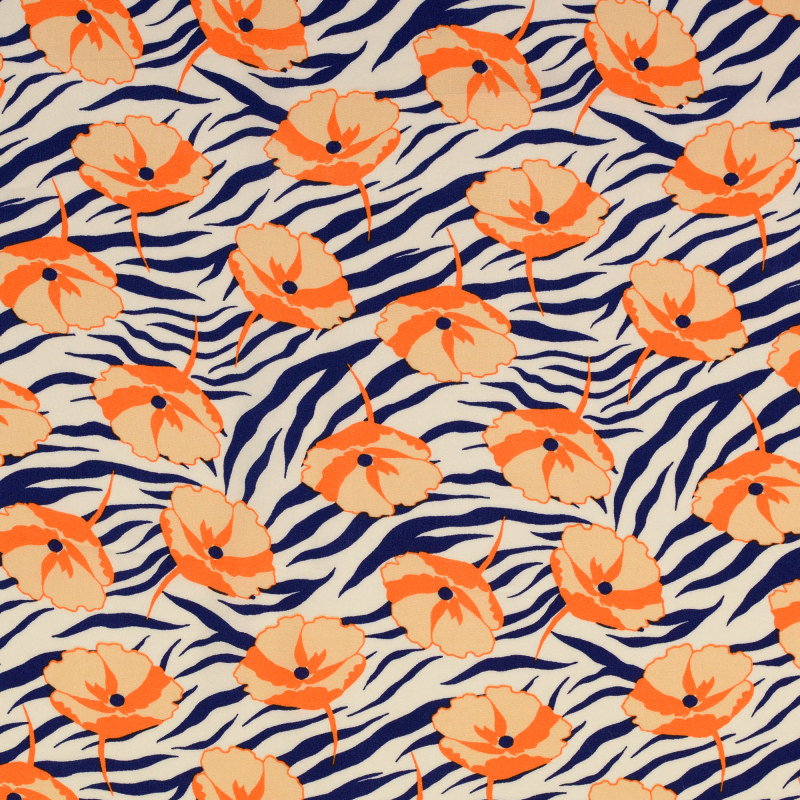 Blue and Orange Zebra Rayon Print From Mistral