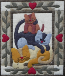 Miniature Quilt Kit - Cat Stack 13in X 15in