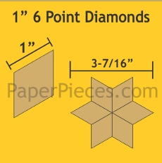 1in 6 Point Diamonds Small Pack 75 Pieces - Paper Piecing