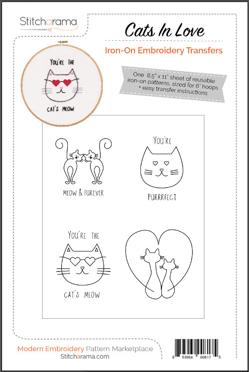 Cats In Love Iron-On Embroidery Transfers