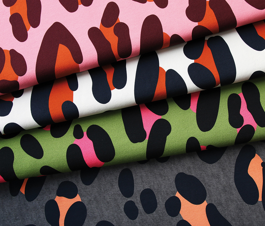 Safari XXL Green/Pink Loopback Sweatshirt Fabric from Wanderlust by Hamburger Liebe for Albstoffe