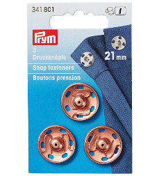 Prym Sew-On Snap Fasteners 21 mm Rose Gold on Brass 3 Pieces