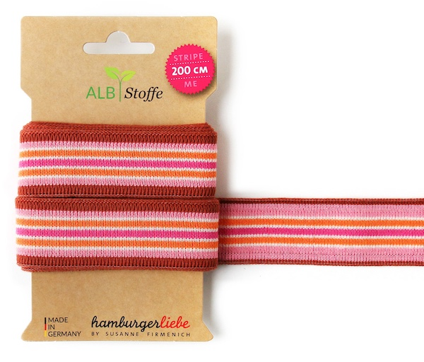 Stripe ME College Red/Pink Trim from Wanderlust by Hamburger Liebe for Albstoffe