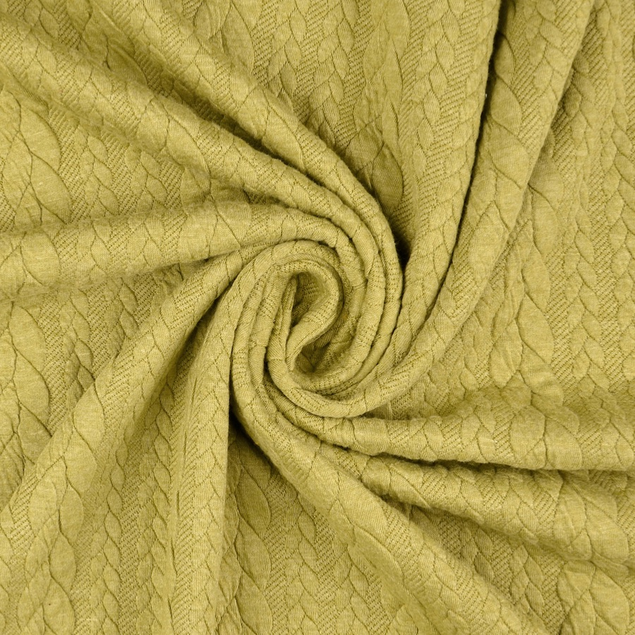 Barso Lime Heathered Cable Jacquard Knit Fabric