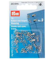 Prym Hooks And Eyes Brass Size 2 Silver Colour