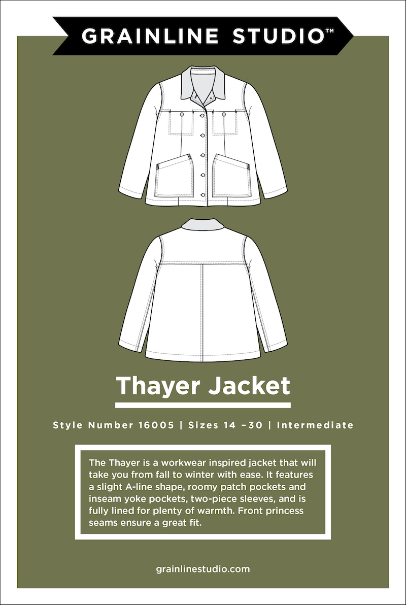 Thayer Jacket Pattern Size 14-30 by Grainline Studio
