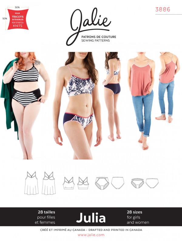 Julia Camisole Bralette And Pants Pattern - Jalie Patterns