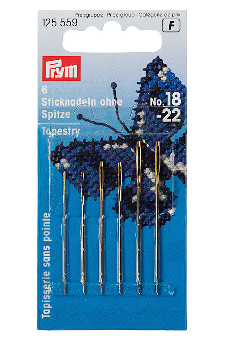 Prym Embroidery Needles Tapestry Blunt Point No.18-22 With Gold Eye 6pcs