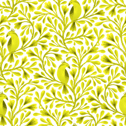 Birds and Branches Citrine By Kristin Sevig - Cloud9 Quilters Cotton