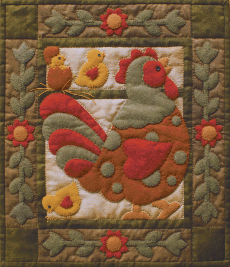Miniature Quilt Kit - Spotty Rooster 13in X 15in