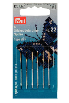 Prym Embroidery Needles Tapestry Blunt Point No.22 With Gold Eye 6pcs