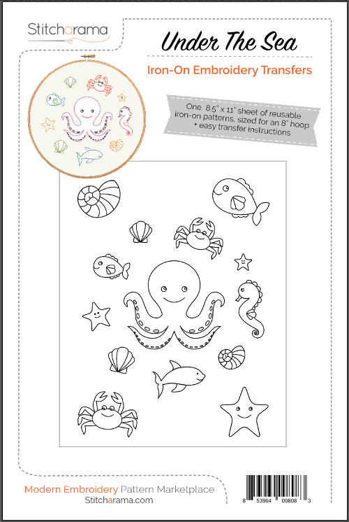 Under The Sea Iron-On Embroidery Transfers