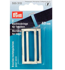 Prym Rectangle Bag Loops 40mm Silver Coloured - 2 Pieces