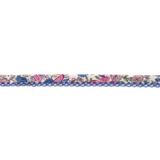 Blue Pink Floral Crochet-edged Poplin Bias Binding Double Fold - 15mm X 25m