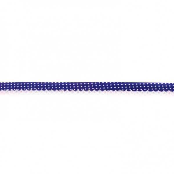 Cobalt Spotted Crochet-edged Poplin Bias Binding Double Fold - 15mm X 25m