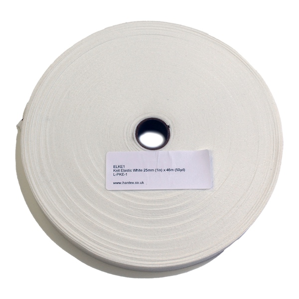 Knit Elastic White 25mm (1in) x 46m (50yd)