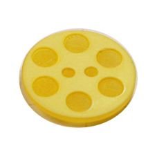 Acrylic Button 2 Hole Indented Circle 15mm Citron