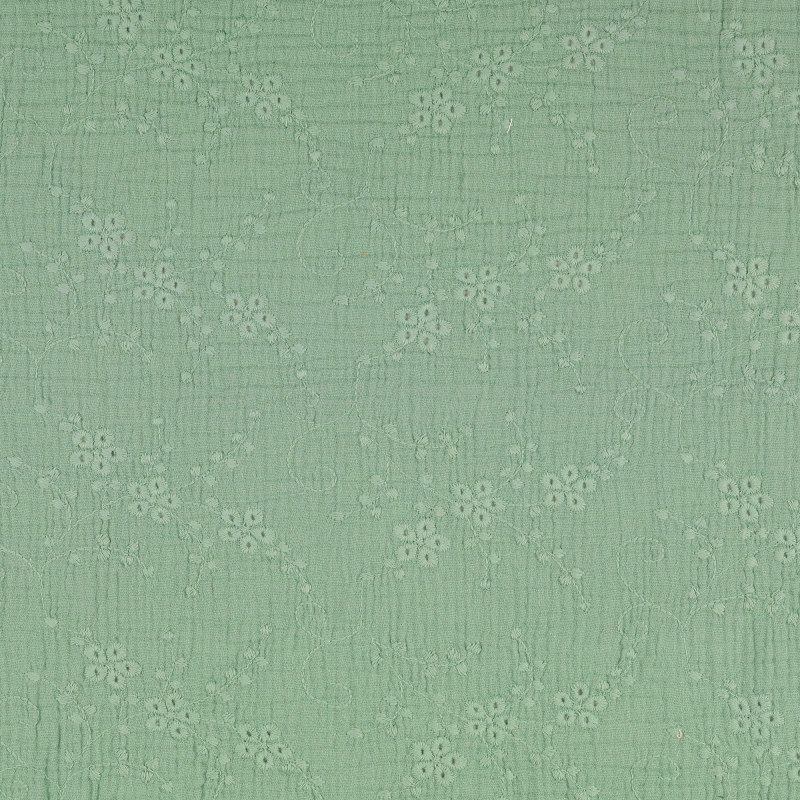Soft Green Embroidered Double Gauze from Nikaho by Modelo Fabrics
