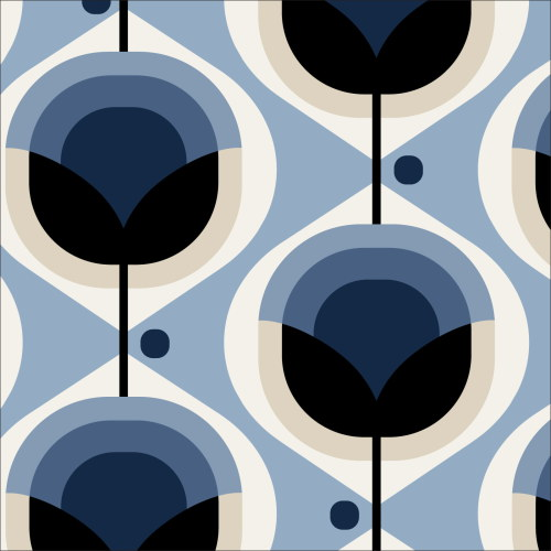 Geo Floral Blue from Modern Retro by Tina Vey