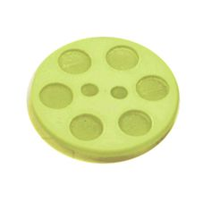 Acrylic Button 2 Hole Indented Circle 15mm Lime