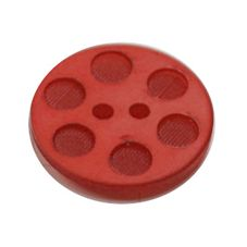 Acrylic Button 2 Hole Indented Circle 15mm Red