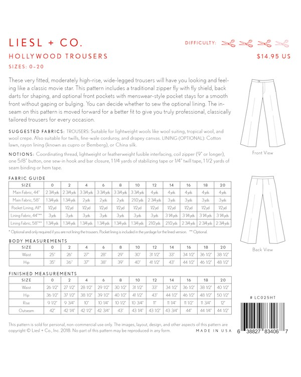 Hollywood Trousers - Liesl + Co Pattern