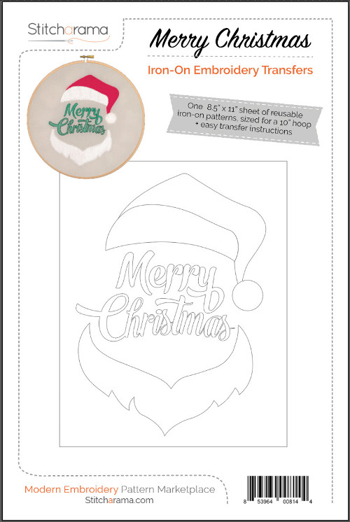 Merry Christmas Iron-On Embroidery Transfers