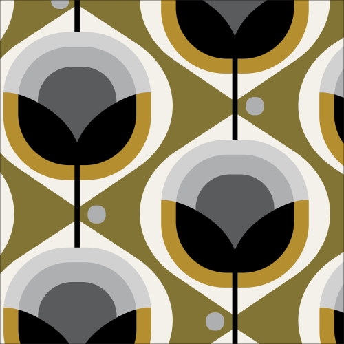 Geo Floral Olive from Modern Retro by Tina Vey