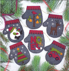 Charcoal Mittens - Felt Ornament Kits (6)