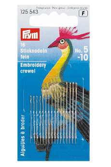 Prym Fine Embroidery Needles Ht 5-10 Assorted With Gold Eye 16pcs