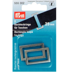 Prym Rectangle Bag Loops 25mm Antique Silver - 2 Pieces