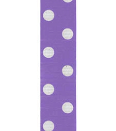 Spot Print Ribbon 7/8in 20mm Orchid/white 50yds / 46m
