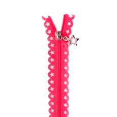 Star Zip 25cm Length - Fuchsia