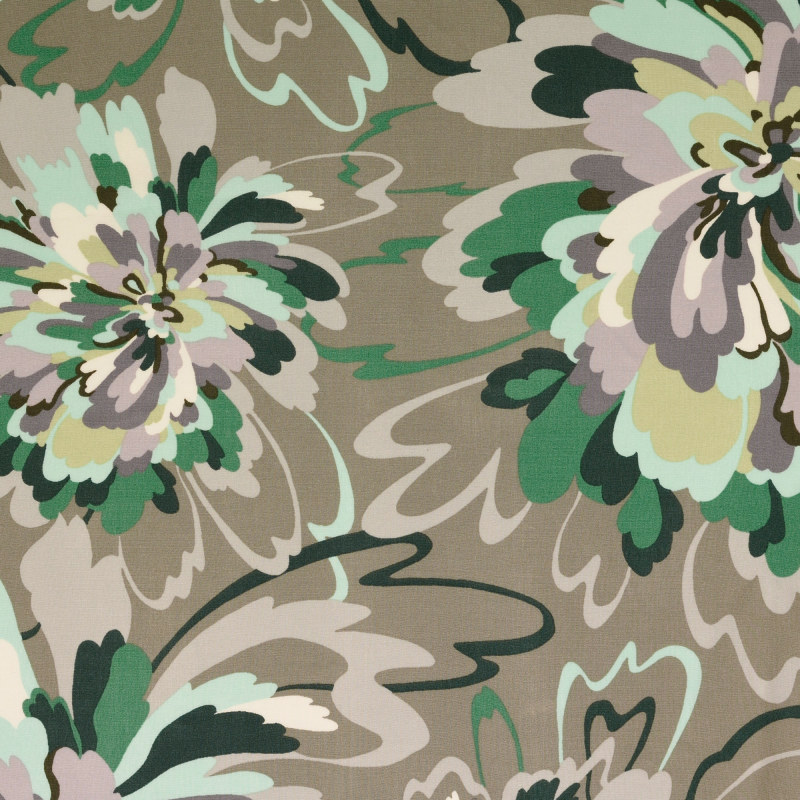 Grey and Aqua Large Floral Rayon Print From Mistral