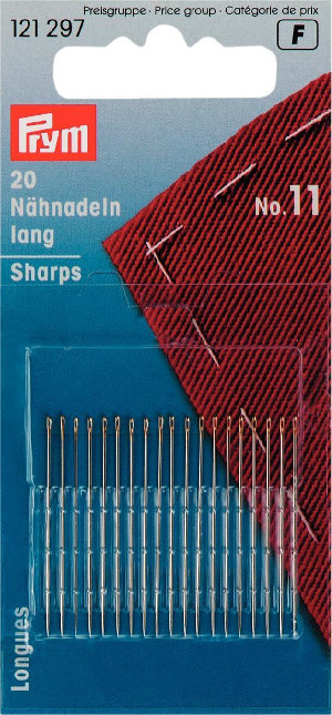 Prym Hand Sewing Needles Sharps 11 With Gold Eye 20pcs