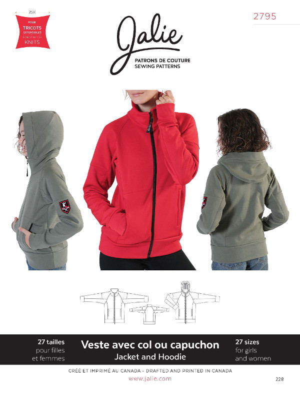 Zip Front Jacket And Hoodie Pattern - Jalie Patterns