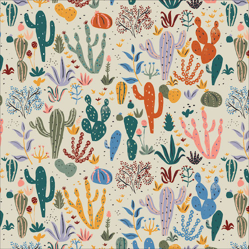 Cacti and Succulents Multi from Arid Wilderness by Louise Cunningham