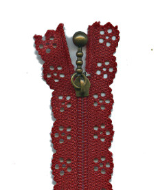 Lace Zip 56cm Length - Barn Red
