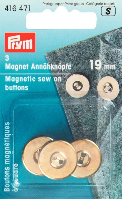 Prym Magnetic Sew-on Buttons 19mm Gold Col 3pcs