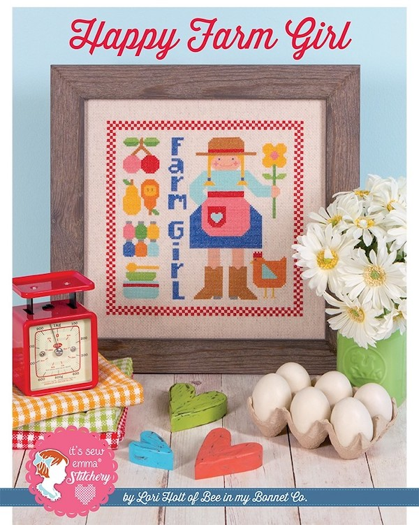 Happy Farm Girl Cross Stitch Pattern - Lori Holt
