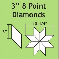 3in 8 Point Diamond Small Pack 50 Pieces - Paper Piecing