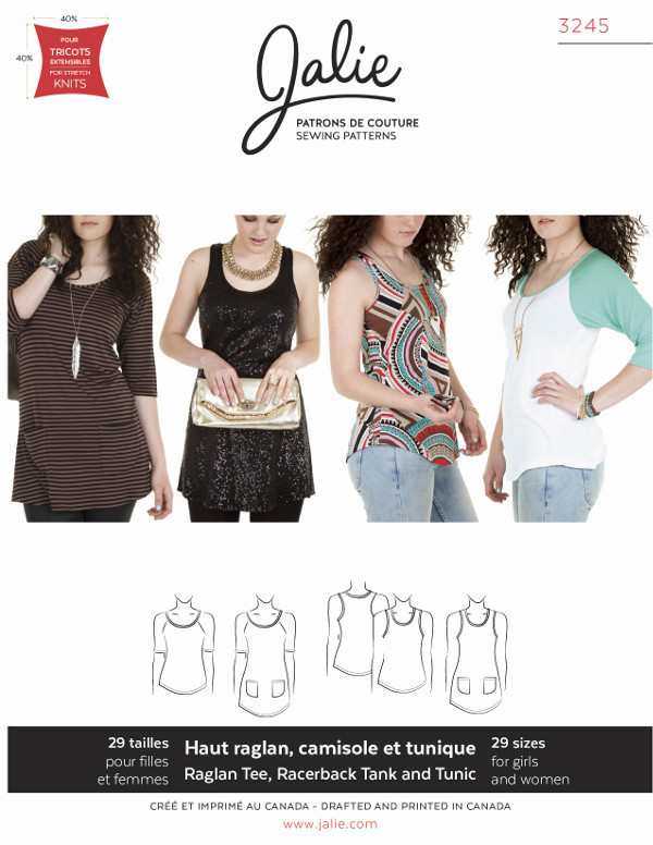 Raglan Top Racerback Tank And Tunics Pattern by Jalie