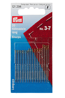 Prym Hand Sewing Needles Sharps 3-7 Assorted With Gold Eye 20pcs