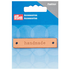 Prym Handmade Label Leather Natural Rectangular 60mm x 13mm 1 Piece